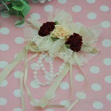 5PCS Big Satin/Lace Ribbon Flower Bows wedding decoration Craft Appliques A102