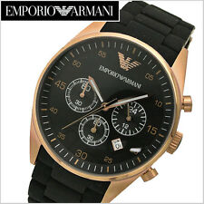NEW EMPORIO ARMANI AR5905 ROSE GOLD BLACK CHRONOGRAPH MEN'S WATCH - BNIB