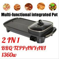 AUGIENB 2 In 1 Electric Barbecue Pan Grill Teppanyaki Cook Fry BBQ Oven Hot Pot