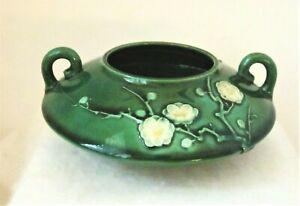 Asian Ikebana Style Green Glazed Vase w/ White Flower Blossom Decoration