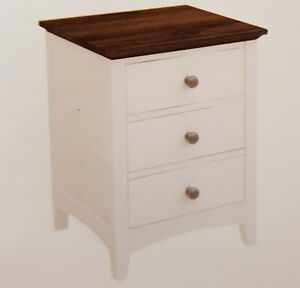 Rustic  and  white three drawer bedside table locker  2 tone  with 3 drawers