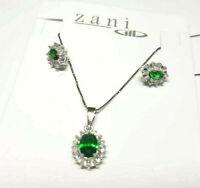Parure orecchini e collana in argento 925 zirconi smeraldo