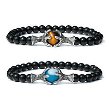 6mm Natural Tiger Eye Men Double Dragon Claw Agate Round Beads Bracelets Bangle