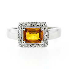 18K White Gold 1.74ctw GIA Yellow Orange Sapphire Solitaire Diamond Accents Ring