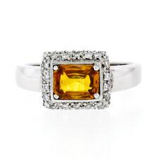 18K White Gold 1.74ctw GIA Yellow Orange Sapphire Solitaire Diamond Accents Ring