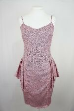 Mimosa Womens Dress 10 Silk Peplum Ruffle Polka Dot Pink Evening Wedding A126