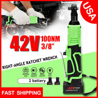3/8'' 90° 42V 100Nm Electric Cordless Ratchet Right Angle Wrench Tool +2 Battery