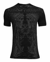 Xtreme Couture AFFLICTION Mens T-Shirt OLD WYOMING Skulls Tattoo Biker UFC $40