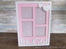 "WHSmith Baby Girl Pink Photo Frame 6/"" x 4/"" Freestanding Wall Hanging Nursery"