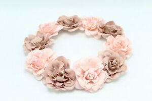 New Womens Dusty Rose / Pink Flower Crown Headband #STKH0304