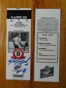 Game 22 BRAD PARK signed Last Season BOSTON BRUINS 3/7/95 TICKET Garden