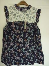 ce0295769a Monsoon Tamiko Navy Multi Floral Hotchpotch Ruffle Top UK 20 EUR 48 US 16