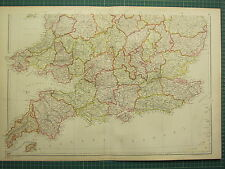 1882 LARGE ANTIQUE MAP ~ ENGLAND & WALES SOUTH SHEET ~ CORNWALL DEVON ESSEX etc