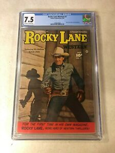 ROCKY LANE WESTERN #1 CGC 7.5 VF- BLACK JACK STALLION 1949 PHOTO COVER