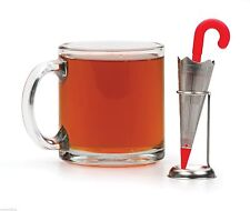 RSVP Umbrella Tea Infuser Drip Stand Stainless Steel Red Silicone Handle T-UMB