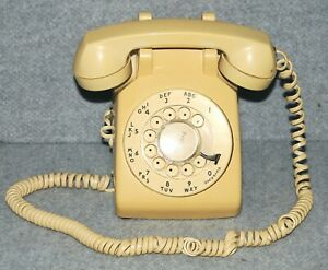 Vtg Western Electric Bell System Rotary Dial Desk Phone 500DM Beige Tan WORKS