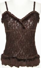 XS Brown Faux Fur Gypsy Hippie Boho Bohemian Lace Beaded Baby Doll Tank Cami Top