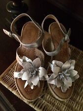 Born Metallic Wedge Leather Sandals Flower Gold