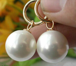 Huge 14MM Natural White South Sea Shell Pearl Dangle Earrings