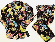 Ralph Lauren S NWT PJ woven cotton button Pajama set pant top Black Multi L/S