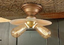 Vintage Victorian Ceiling Fixture with Milk Glass Shade and 2 Socket Cluster