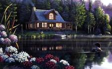 """Kim Norlien Beside Still Waters Cabin Loon Print  12"""" x 8"""""""