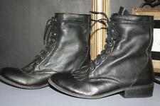 DOLCE VITA SIZE 10 BLACK PEBBLED LEATHER LACE UP ANKLE PADDOCK BOOTS MEDIUM HEEL