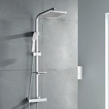 Colonna doccia termostatica saliscendi acciaio squadrato completo di miscelatore