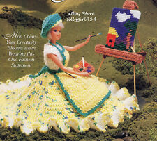 """ARTIST'S COSTUME""~Crochet PATTERN ONLY fits BARBIE FASHION DOLL + PC EASEL"