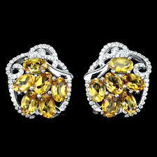 ELEGANT NATURAL TOP RICH YELLOW CITRINE,WHITE CZ STERLING 925 SILVER EARRINGS
