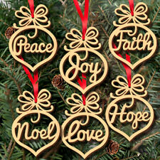 6Pcs Marry Christmas Decorations Wooden Ornament Xmas Tree Hanging Tags Pendant