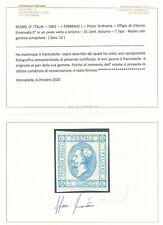 REGNO 1863 N.12 LITOGRAFICO I. TIPO 15 c. CON GOMMA SCREPOLATA MLH + CERTIFICATO
