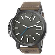 Puma Watch Wrist Band Men's Watch Ultrasize Leather Brown pu103461017