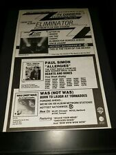 Zz Top/Paul Simon/Was (Not Was) Rare Original Radio Promo Poster Ad Framed!
