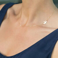 Women Posh Gold Plated Swallow Necklace Pendant Chain Chocker Jewelry Elegant