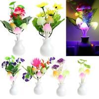 Romantic Flower Mushroom LED Night Light Sensor Baby Bed Lamp Decor US Plug FZ