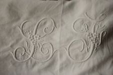 Vintage French linen sheet trousseau LT LF monogram 88 X 138 LONG white King