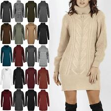 Womns Ladies Chunky Cable Knitted Cowl High Turtle Polo Neck Tunic Jumper Dress