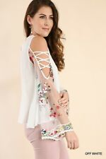 BLUHEAVEN by UMGEE White Open Shoulder Floral Embroidered Blouse/shirt/Top BHCS
