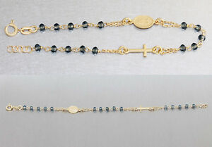 Rosenkranz Armband echt Silber 925 mit blauen Perlen Anhänger Kreuz u hl. Maria
