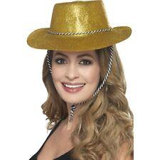 12 x Gold Glitter Hat Cowboy Fancy Dress Women's Hen Do Western Party Cowgirl