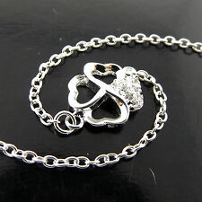 Anklet 925 Sterling Silver S/F Diamond Simulated Heart & Four Leaf Clover Design