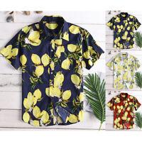 Men's Hawaii Floral T Shirt Lemon Printed Short Sleeved Beach Summer Casual Tops