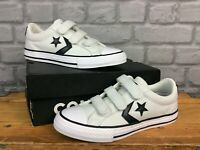 CONVERSE UK 2 EU 34 CHUCK TAYLOR STAR PLAYER 3V OX WHITE TRAINERS CHILDRENS AD