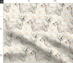 Sealyham Terrier Pastel Sketch Transparent Dogs Spoonflower Fabric by the Yard