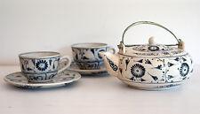 HAND PAINTED CERAMIC TEA SET (teapot plus 2 cups and 2 saucers)