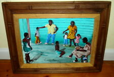 Casseus Maxime Signed Haiti Group of Village People Oil Painting c.1999