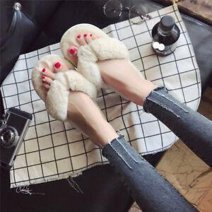 Women Plush Fuzzy Thong Spa Slippers Cozy Flip Flops House Shoes Size 6 7 8 9 10