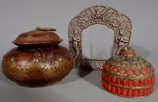 Tibet Tibetan lot 2 Boxes Silver Metal & Wood & a Metal Relief Frame ca. 20th c