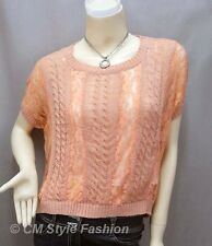 Loose Fit Lace Patch Knit Cropped Boho Top Pink M